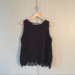Black Sleeveless Crochet Hem Keyhole Back Top